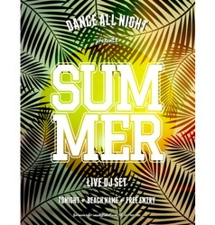 Summer party palm leaves and sunlight flyer design vector