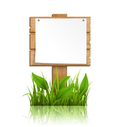 Wooden signpost with grass paper and reflection on vector