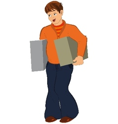 Cartoon man in orange holding two big boxes vector