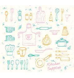 Kitchen supplies sketch set vector