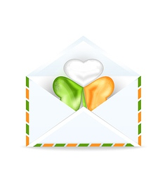 Envelope with clover in irish flag color for st vector