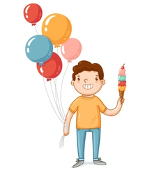 A boy with balloons and ice cream vector
