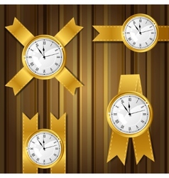 Set of gold watches and ribbon vector