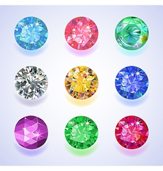 Round shape top view colored gems vector
