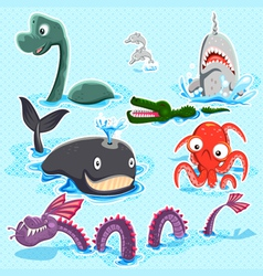 Monsters of the deep blue sea collection set vector