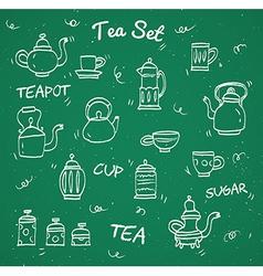 Chalk tea collection vector