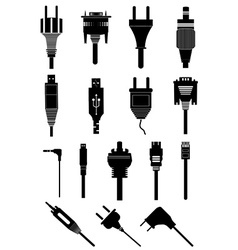 Electric plugs icons set vector