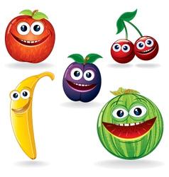 Funny fruits cartoons vector