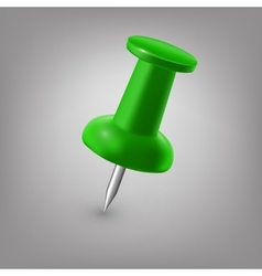 Green push pin isolated vector