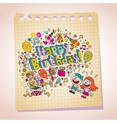 Happy birthday kids note paper cartoon vector