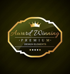 Beautiful award winning golden label vector