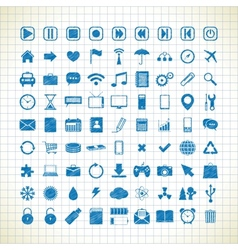 Set of media icons in the style of the sketch vector