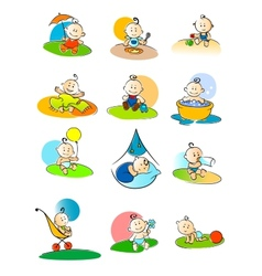 Set of small babies enjoying various activities vector