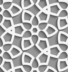 White geometrical floristic net on gray seamless vector