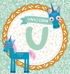 Abc animals u is unicorn childrens english vector