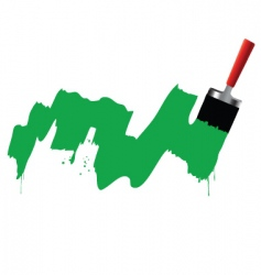Brush and green paint vector