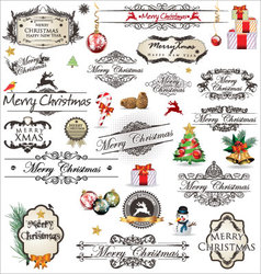 Merry christmas vintage label collection vector