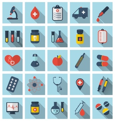 Collection trendy flat medical icons with long vector