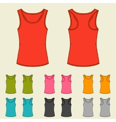 Set of templates colored singlets for women vector
