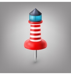 Red push pin lighthouse isolated vector