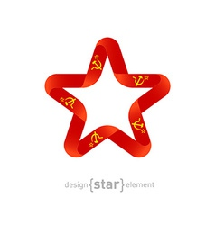 Star with ussr flag colors and symbols design vector