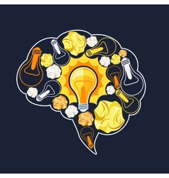 Brain inside glowing light bulb vector