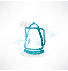 Electric kettle grunge icon vector