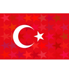 Turkey flag on unusual red stars background vector