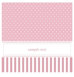 Pink card or baby shower invitation with dots vector
