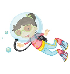 A girl scuba diving vector