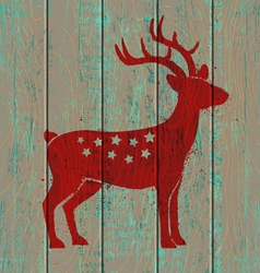 Old wooden background and deer vector
