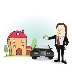 Man indicates his hands on the house and car vector