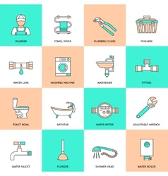 Plumbing icons flat line set vector