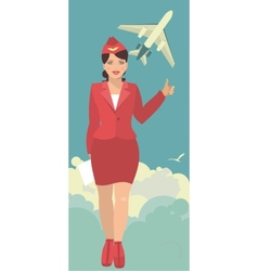 Stewardess in a round emblem vector