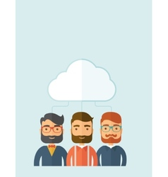Businessmen under the cloud vector
