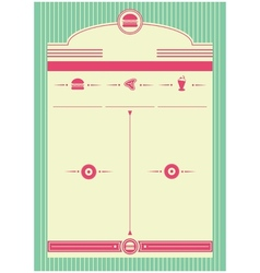 1950s diner inspired background and frame vector