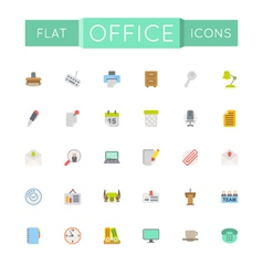Flat office icons vector