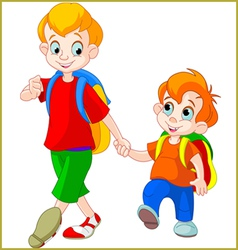 Brothers go to school vector