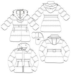 Girls winter coat and jacket vector