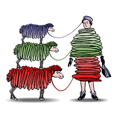 Three sheep knitting woman a dress vector