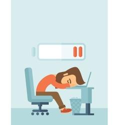 Lying tired employee vector