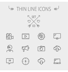Technology thin line icon set vector
