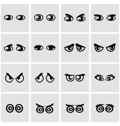 Black cartoon eyes icon set vector