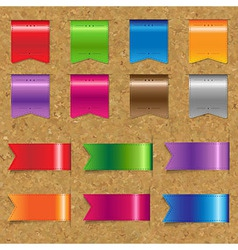 Web color ribbons big set with cork vector