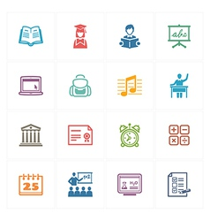 School and education icons set 2 - colored series vector