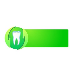 Healthy teeth on green banner vector