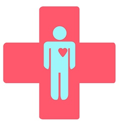 Medical cross with a man vector