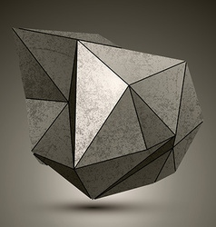Deformed dimensional facet bronze object 3d vector