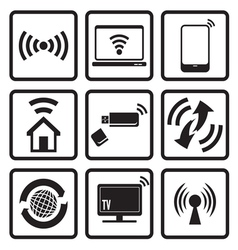 Wireless technology web icons set vector