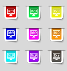 Aspect ratio 16 9 widescreen tv icon sign set of vector